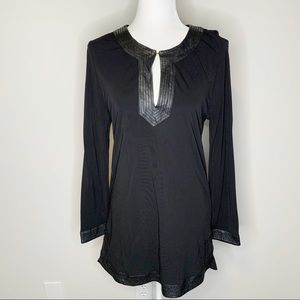 Tory Burch Black Tunic Top w/ Leather Trim Small